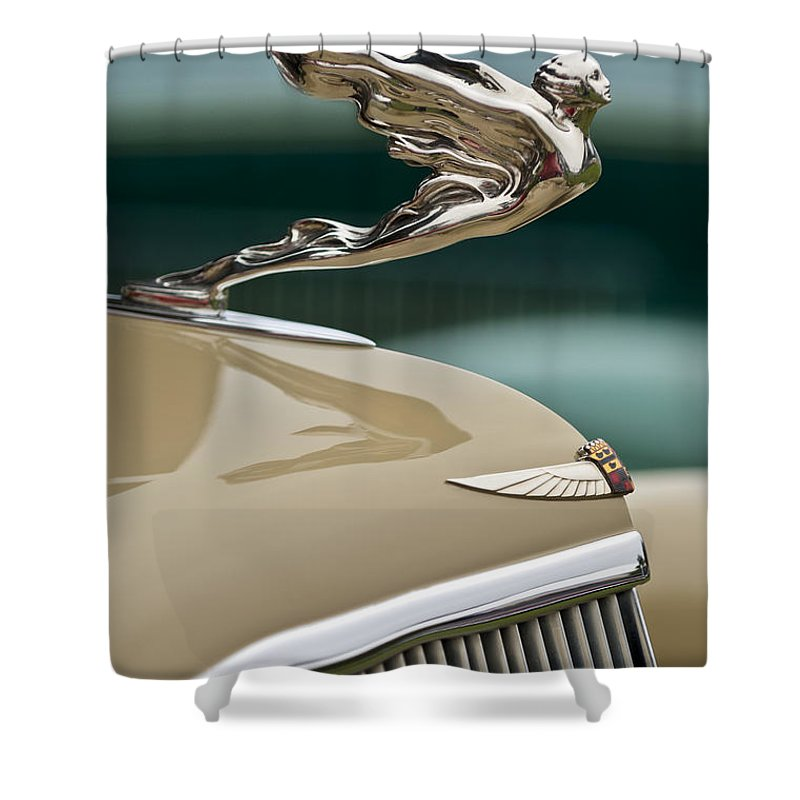 1935 Cadillac Convertible Shower Curtain featuring the photograph 1935 Cadillac Convertible Hood Ornament by Jill Reger
