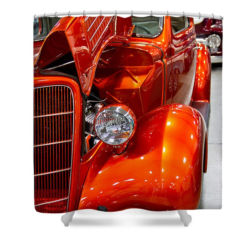 Vertical Shower Curtain featuring the photograph 1935 Orange Ford-front View by Eti Reid