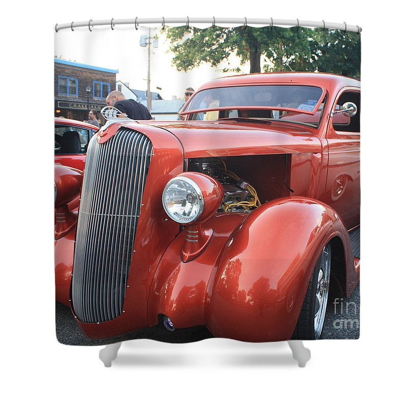1936 Plymouth Two Door Sedan Front And Side View Shower Curtain featuring the photograph 1936 Plymouth Two Door Sedan Front And Side View by John Telfer