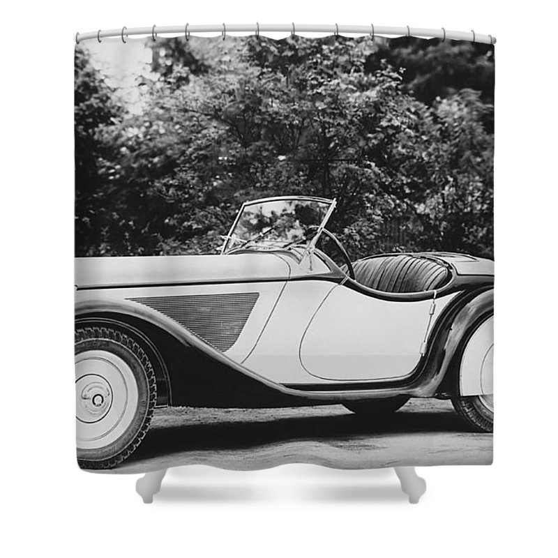 1930s Shower Curtain featuring the photograph 1937 Bmw Convertible by Underwood Archives