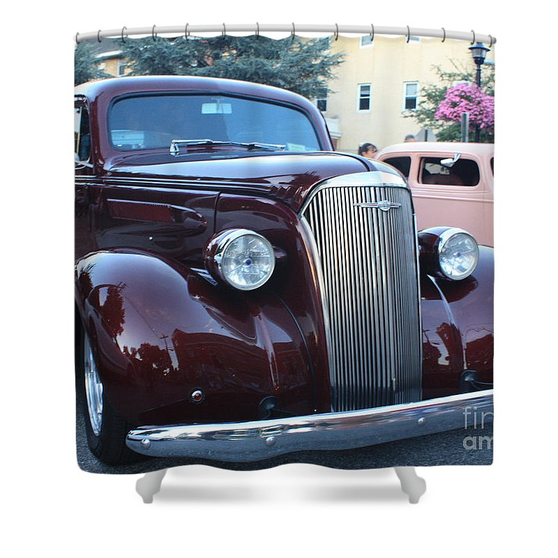 1937 Chevy Two Door Sedan Front And Side View Shower Curtain featuring the photograph 1937 Chevy Two Door Sedan Front And Side View by John Telfer