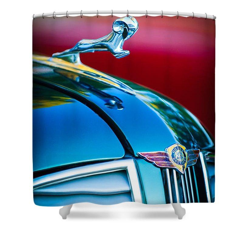 1937 Dodge Hood Ornament Shower Curtain featuring the photograph 1937 Dodge Hood Ornament - Emblem by Jill Reger