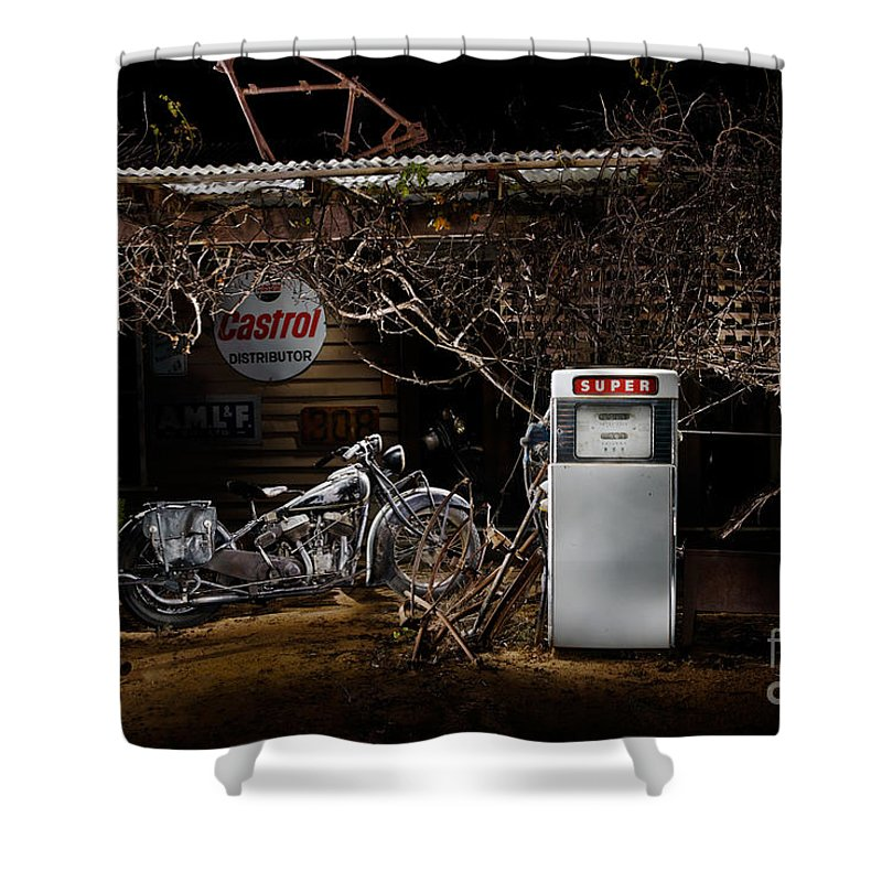Classic Shower Curtain featuring the photograph 1939 Indian Chief At An Old Garage by Frank Kletschkus