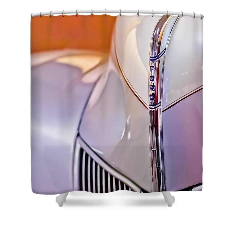 1940 Ford Hood Ornament Shower Curtain featuring the photograph 1940 Ford Hood Ornament by Jill Reger