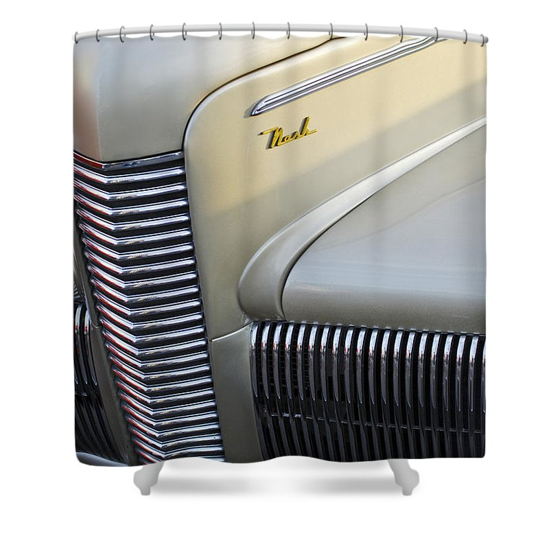Car Shower Curtain featuring the photograph 1940 Nash Grille by Jill Reger