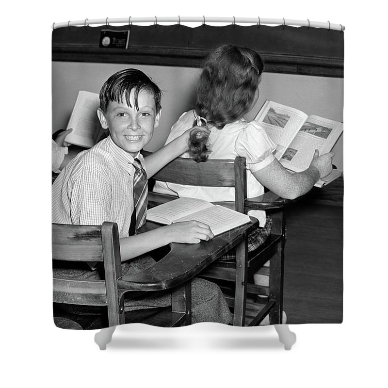 Photography Shower Curtain Featuring The Photograph 1940s 3 Kids Students Classroom Boy By Vintage Images