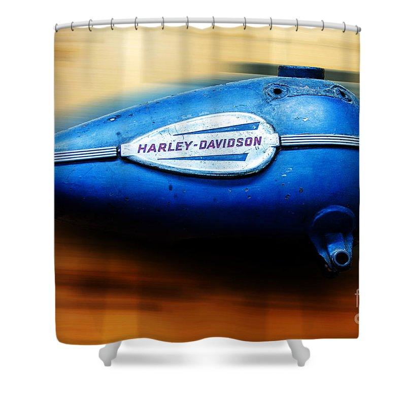 Harley-davidson Shower Curtain featuring the photograph 1940s Harley Tank by Paul Mashburn