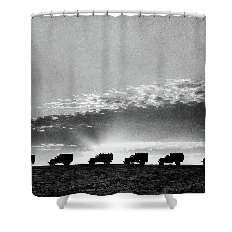 Photography Shower Curtain featuring the photograph 1940s Line Of Anonymous Silhouetted by Vintage Images