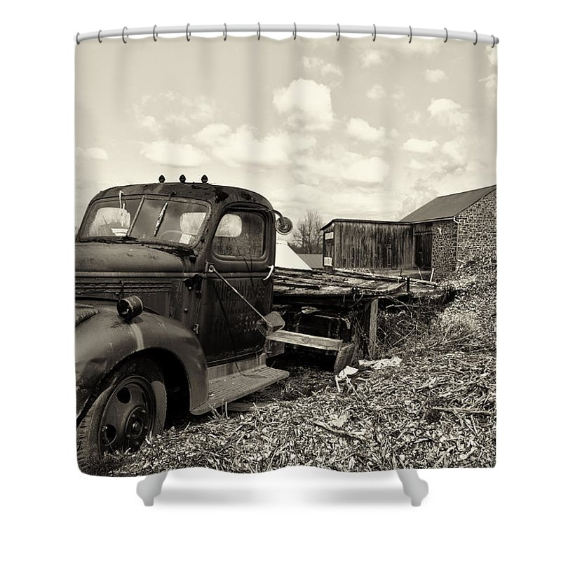 1941 Shower Curtain featuring the photograph 1941 Chevy Truck In Sepia by Bill Cannon