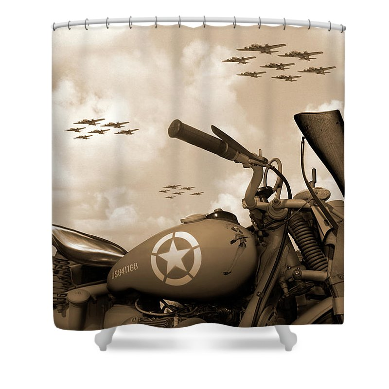 Warbirds Shower Curtain featuring the photograph 1942 Indian 841 - B-17 Flying Fortress' by Mike McGlothlen