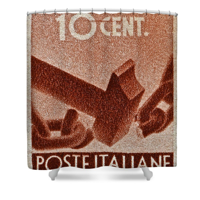 1946 Shower Curtain featuring the photograph 1946 Hammer That Breaks A Chain Italiane Stamp by Bill Owen