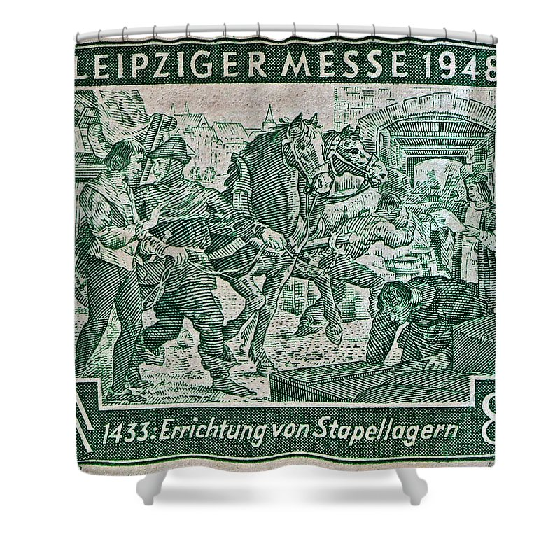 1948 Shower Curtain featuring the photograph 1948 Allied Occupation German Stamp by Bill Owen