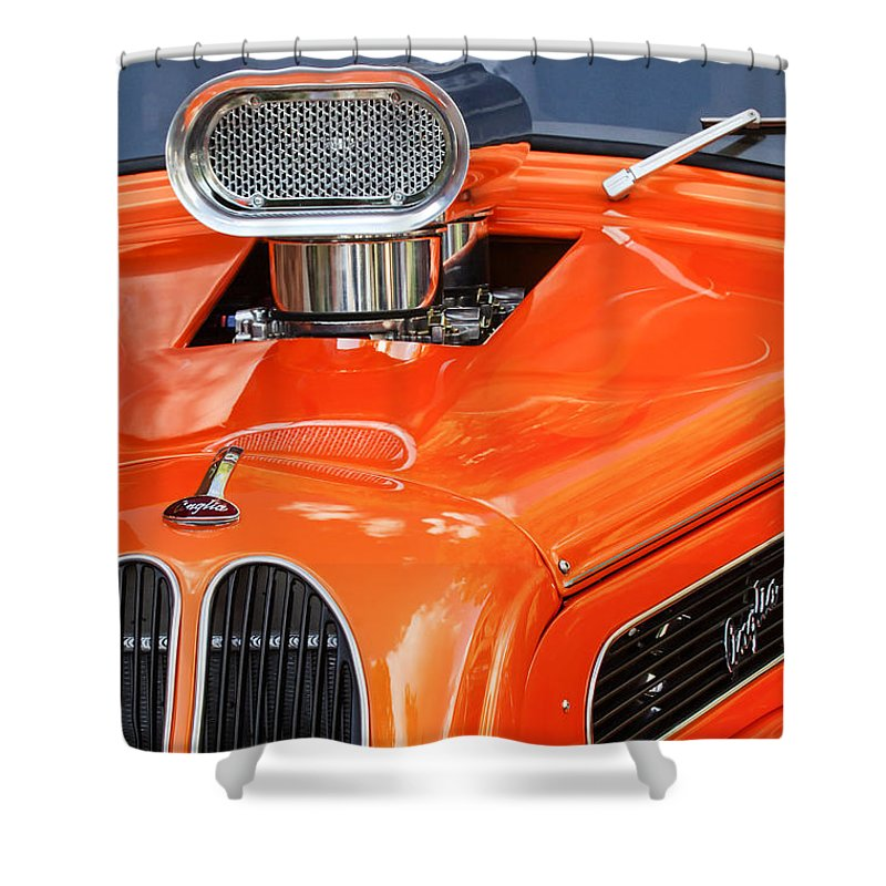 1948 Anglia 2 Door Sedan Shower Curtain featuring the photograph 1948 Anglia Engine -522c by Jill Reger