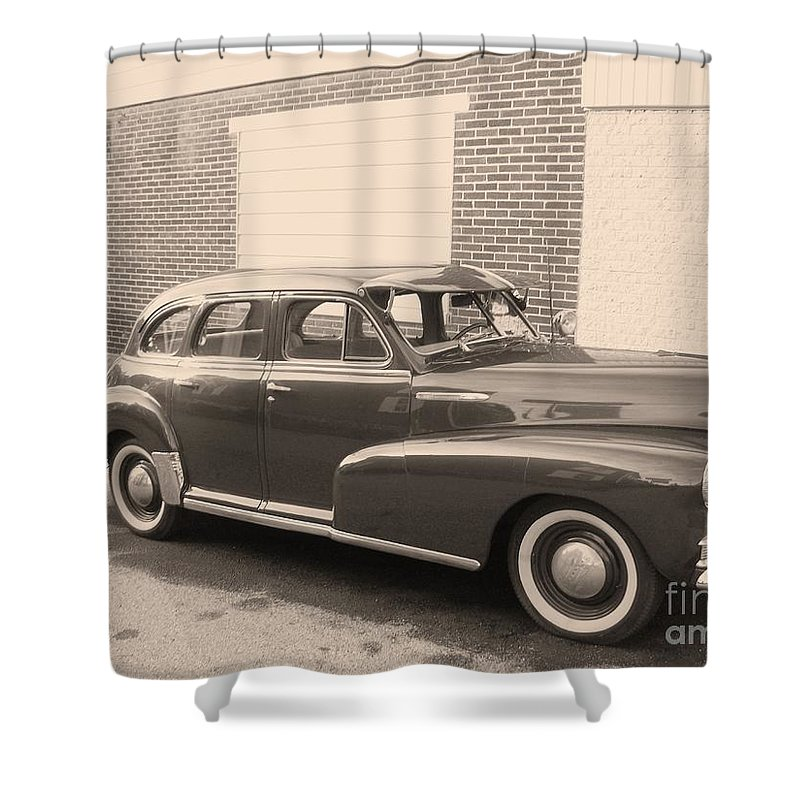 Chevy Shower Curtain featuring the photograph 1948 Chevy by Eric Schiabor