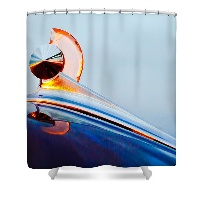1949 Ford Shower Curtain featuring the photograph 1949 Ford Hood Ornament 2 by Jill Reger