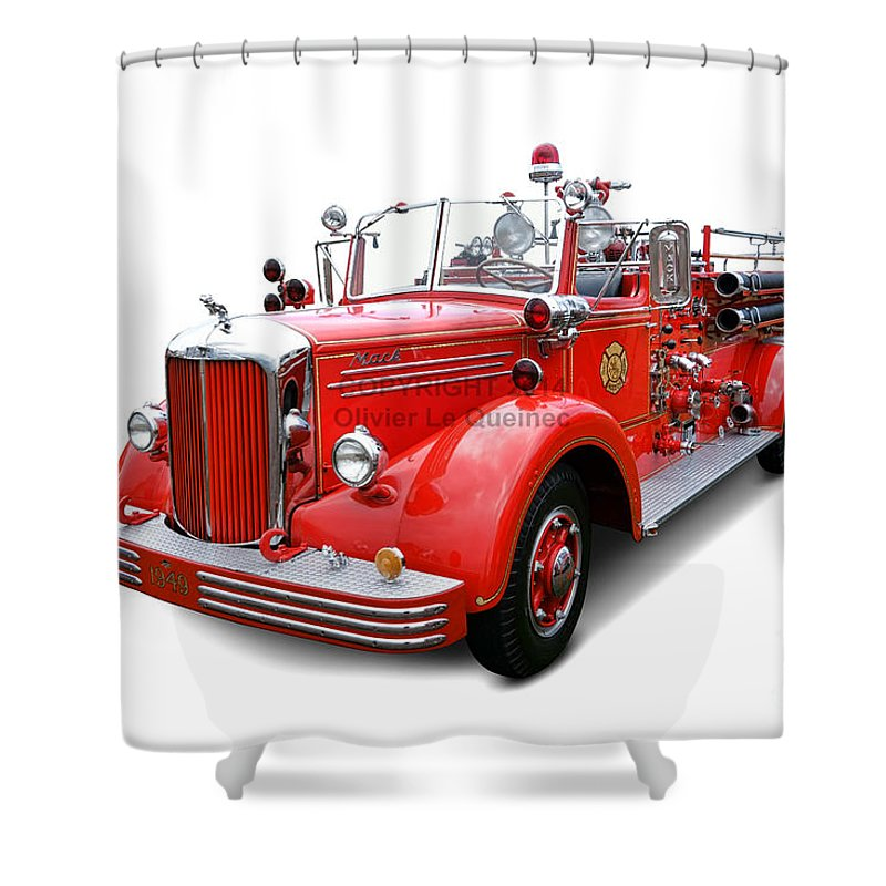 1949 Shower Curtain Featuring The Photograph Mack Fire Truck By Olivier Le Queinec
