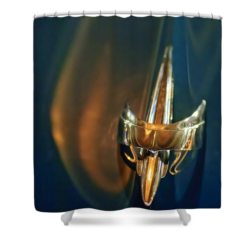 1949 Mercury Woody Wagon Shower Curtain featuring the photograph 1949 Mercury Woody Wagon Hood Ornament by Jill Reger