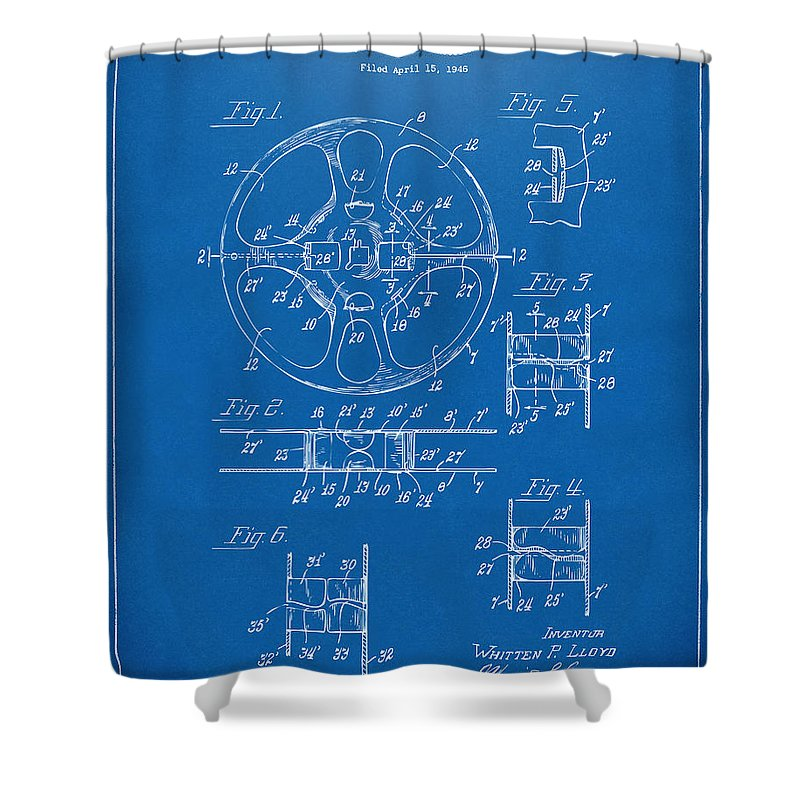 1949 movie film reel patent artwork blueprint shower curtain for movie shower curtain featuring the digital art 1949 movie film reel patent artwork blueprint by malvernweather Image collections