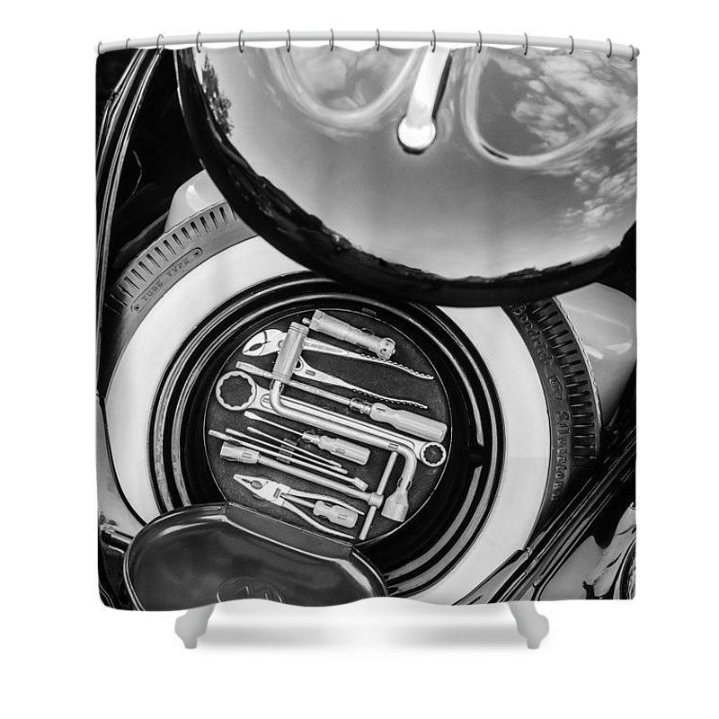 1949 Volkswagen Vw Hebmuller Cabriolet Tool Kit Shower Curtain featuring the photograph 1949 Volkswagen Vw Hebmuller Cabriolet Tool Kit -0278bw by Jill Reger