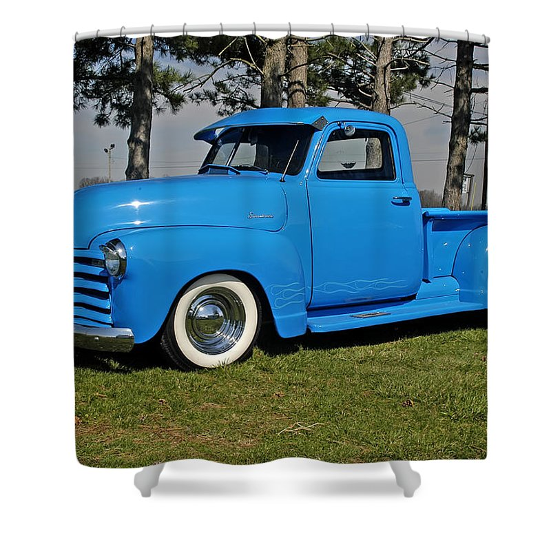 Shower Curtain featuring the photograph 1950 Baby Blue Chevrolet Pu by Randall Branham