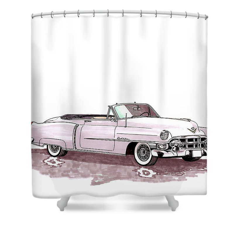 Classic Car Paintings Shower Curtain featuring the painting 1953 Cadillac El Dorado by Jack Pumphrey