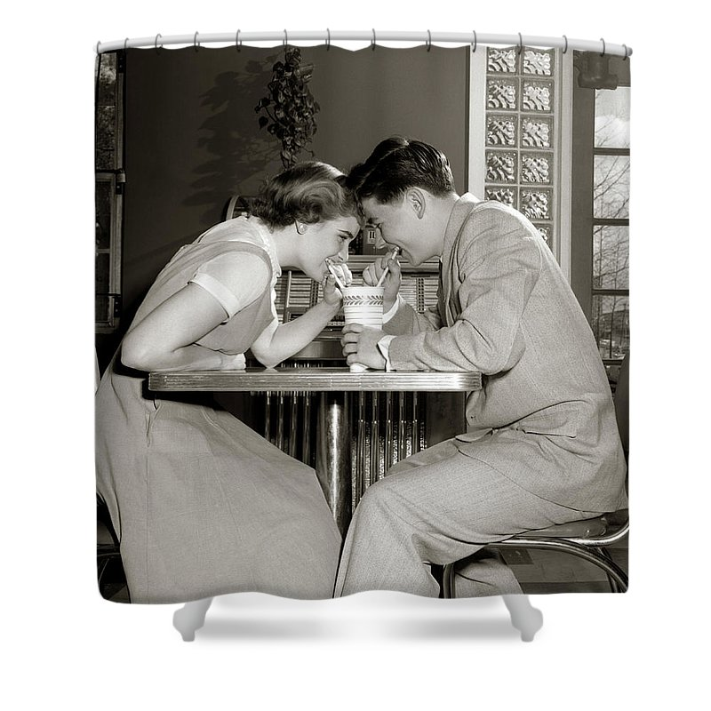 1950s 1960s Laughing Teenage Couple Boy Shower Curtain For Sale By