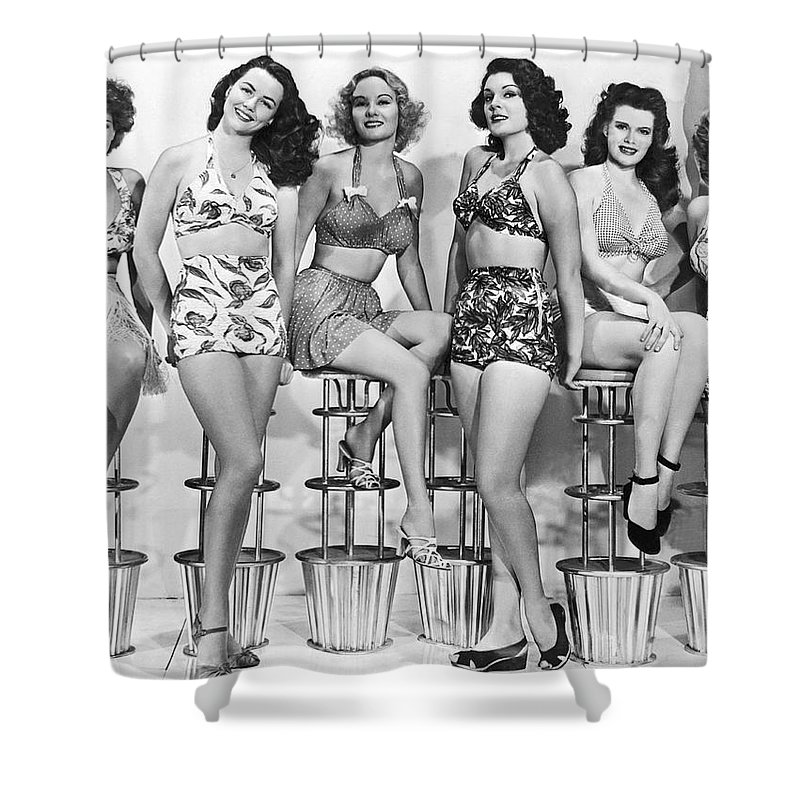 42d85c117e 1952 Shower Curtain featuring the photograph 1950s Bathing Suits by  Underwood Archives
