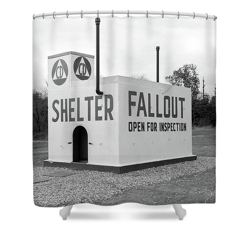 Photography Shower Curtain Featuring The Photograph 1950s Civil Defense Fallout Shelter By Vintage Images