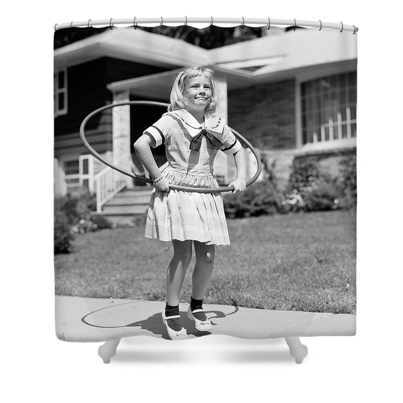 Photography Shower Curtain Featuring The Photograph 1950s Girl In Dress On Suburban By Vintage Images