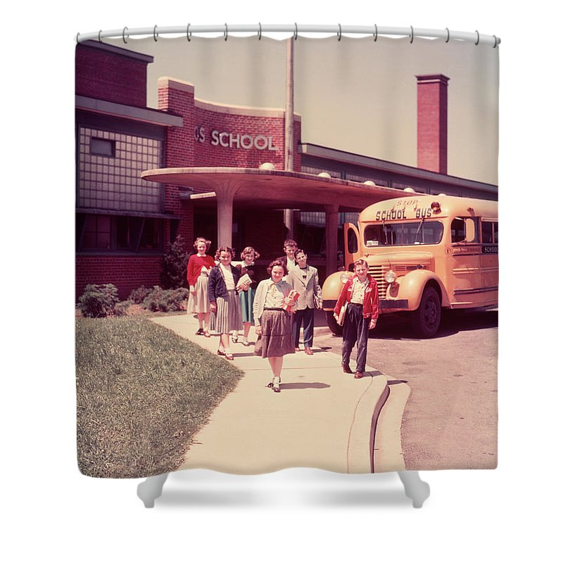 1950s Group Elementary School Kids Boys Shower Curtain For Sale By