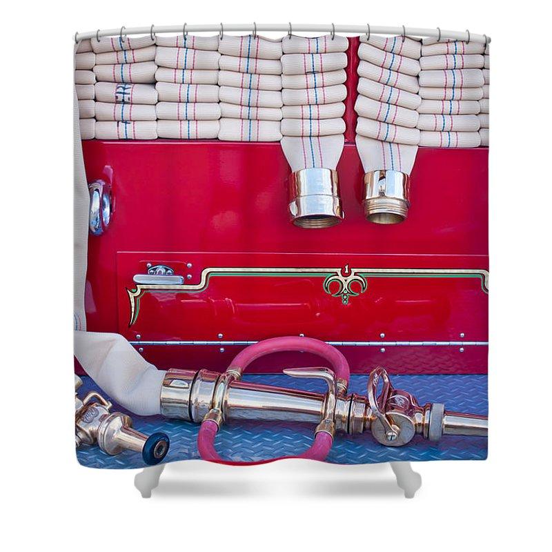 1952 L Model Mack Pumper Fire Truck Shower Curtain featuring the photograph 1952 L Model Mack Pumper Fire Truck Hoses by Jill Reger