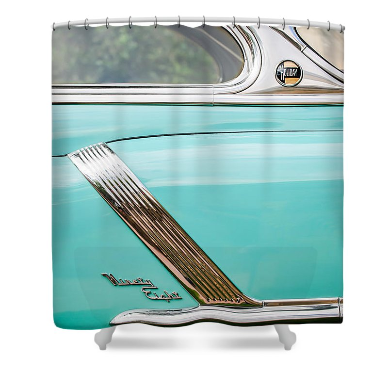 1952 Oldsmobile 98 Holiday Hardtop Side Emblem Shower Curtain featuring the photograph 1952 Oldsmobile 98 Holiday Hardtop Side Emblem -1454c by Jill Reger