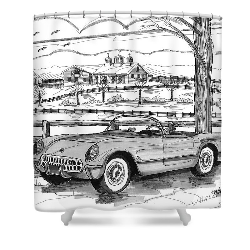 1953 Chevrolet Corvette Shower Curtain featuring the drawing 1953 Chevrolet Corvette 1953 by Richard Wambach