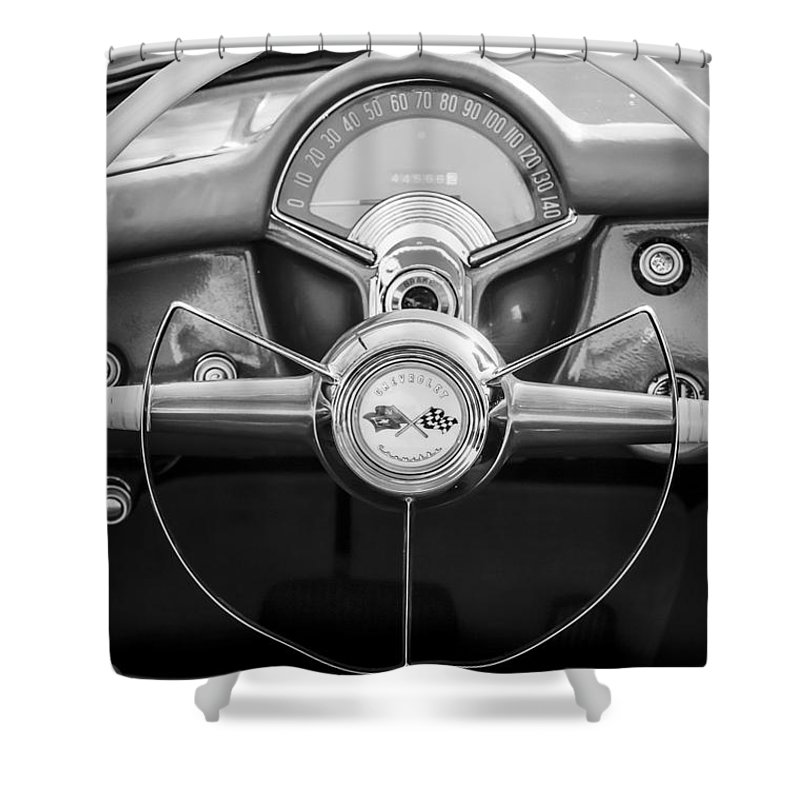 1954 Chevrolet Corvette Steering Wheel Shower Curtain featuring the photograph 1954 Chevrolet Corvette Steering Wheel -382bw by Jill Reger