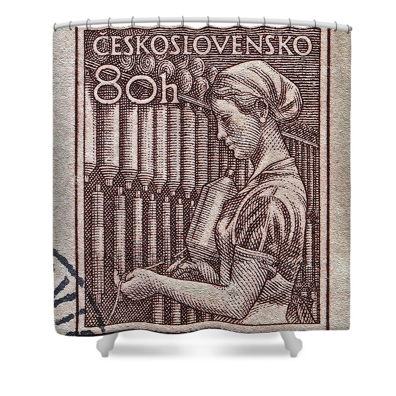 1954 Shower Curtain featuring the photograph 1954 Czechoslovakian Textile Worker Stamp by Bill Owen