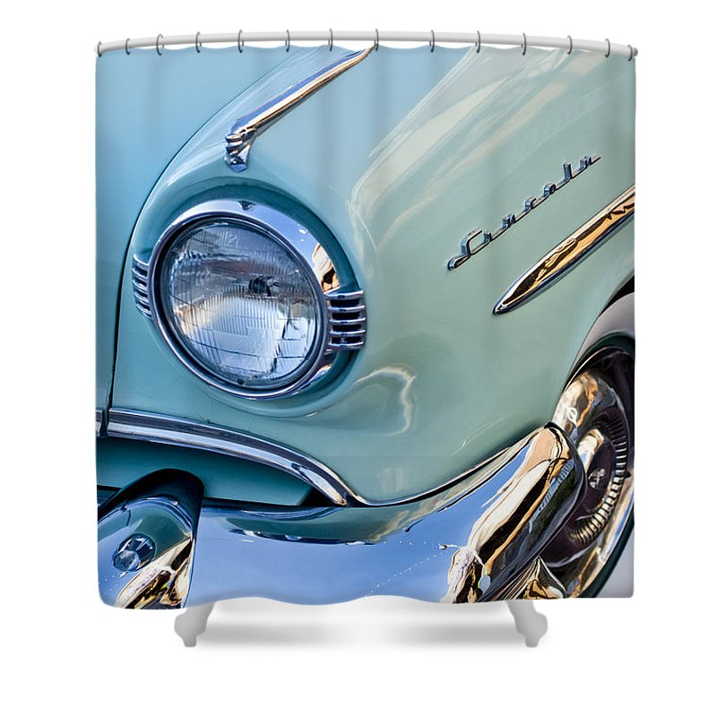 1954 Lincoln Capri Shower Curtain featuring the photograph 1954 Lincoln Capri Headlight by Jill Reger