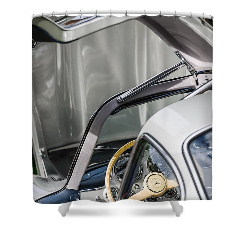 1954 Mercedes-benz 300sl Gullwing Steering Wheel Shower Curtain featuring the photograph 1954 Mercedes-benz 300sl Gullwing Steering Wheel -1653c by Jill Reger