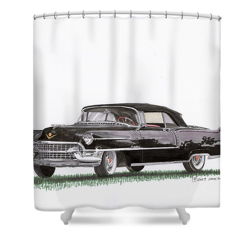 Classic Car Paintings Shower Curtain featuring the painting 1955 Cadillac Series 62 Convertible by Jack Pumphrey