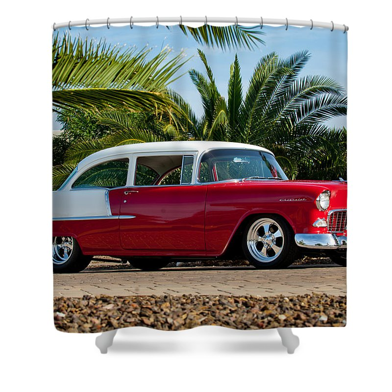 1955 Chevrolet 210 Shower Curtain featuring the photograph 1955 Chevrolet 210 by Jill Reger
