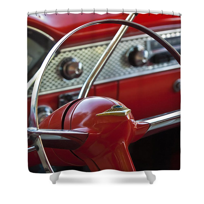 Car Shower Curtain featuring the photograph 1955 Chevrolet Belair Nomad Steering Wheel by Jill Reger