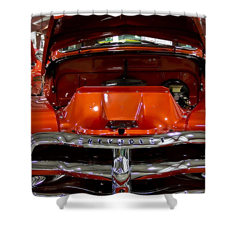 Retro Shower Curtain featuring the photograph 1955 Chevrolet Truck-american Classics-front View by Eti Reid