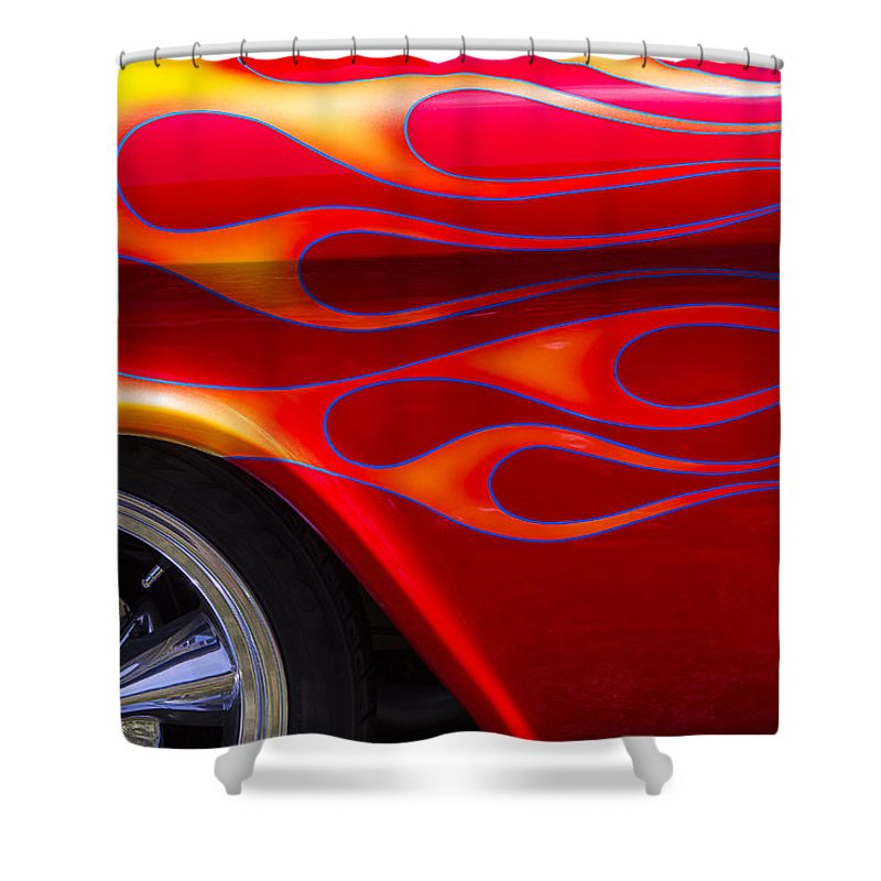 1955 Chevy Shower Curtain Featuring The Photograph Pickup With Flames By Garry Gay