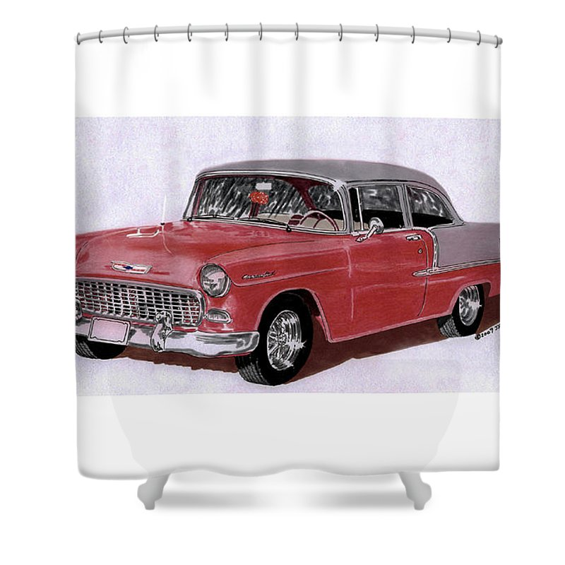 A Watercolor Painting By Jack Pumphrey Of 1955 Chevy Post Two Door Sedan Shower Curtain