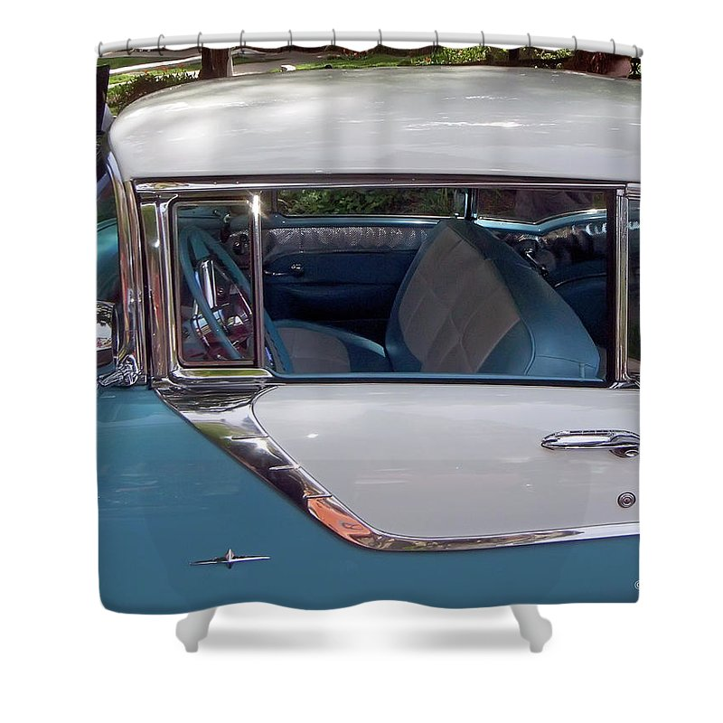 2d Shower Curtain featuring the photograph 1955 Pontiac Star Chief by Brian Wallace
