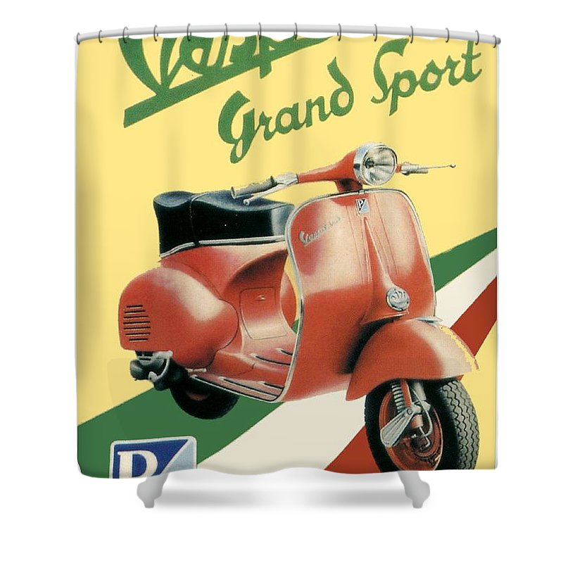 Vespa Shower Curtain featuring the digital art 1955 - Vespa Grand Sport Motor Scooter Advertisement - Color by John Madison