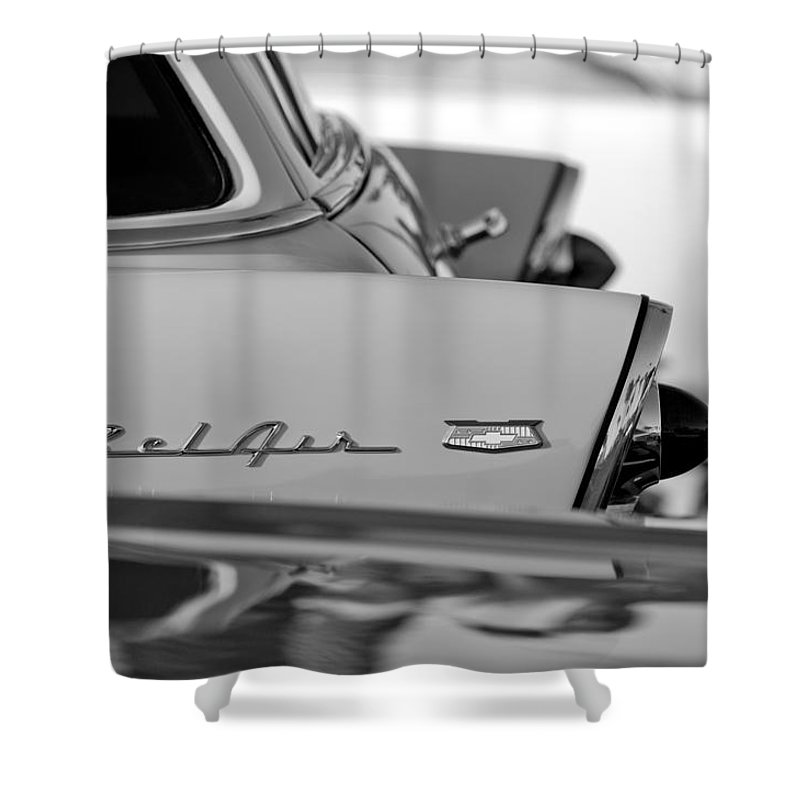 1956 Chevrolet Belair Nomad Rear End Emblem Shower Curtain featuring the photograph 1956 Chevrolet Belair Nomad Rear End Emblem by Jill Reger