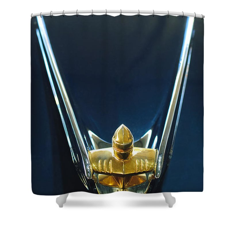 1956 Lincoln Premiere Convertible Shower Curtain featuring the photograph 1956 Lincoln Premiere Convertible Hood Ornament by Jill Reger