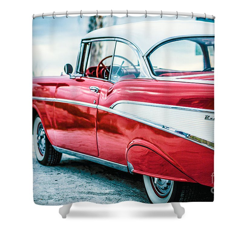 1957 Shower Curtain featuring the photograph 1957 Chevy Bel Air by Edward Fielding