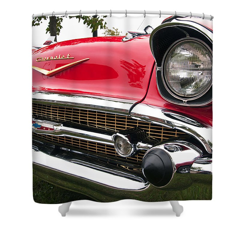 1957 Chevrolet Bel Air Shower Curtain Featuring The Photograph Chevy Front End By