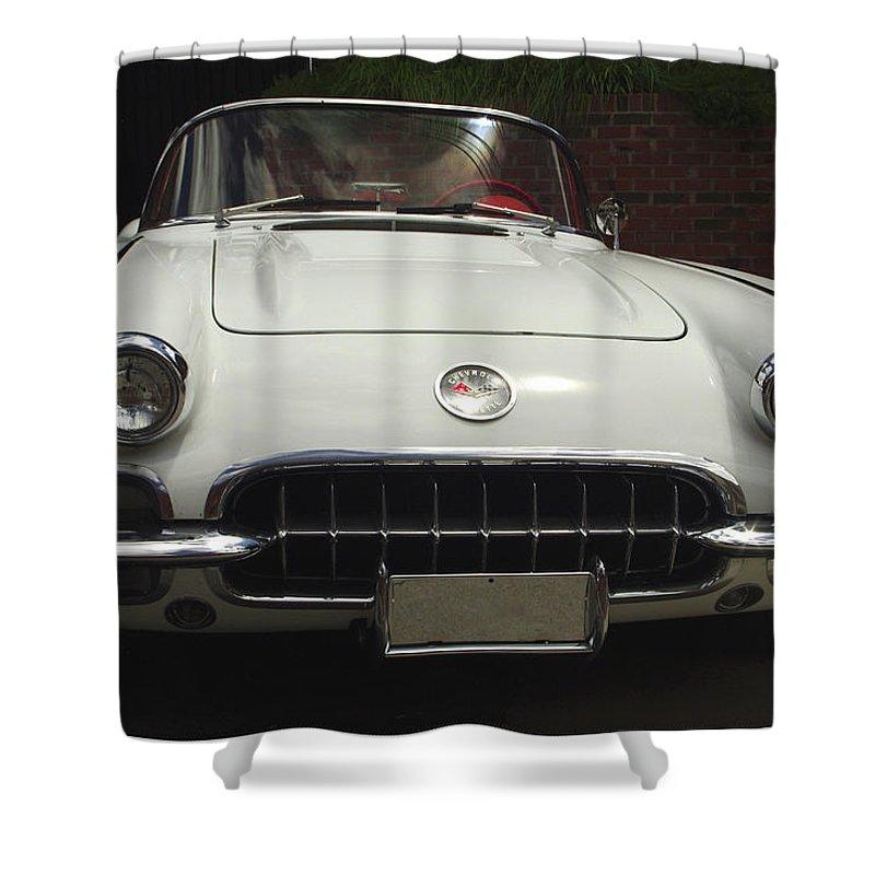 1958 Corvette Shower Curtain featuring the photograph 1958 Chevrolet Corvette by James C Thomas